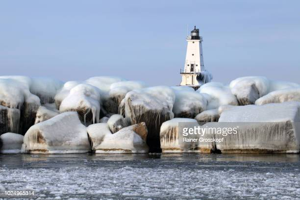 Lighthouse on Lake Michigan in winter