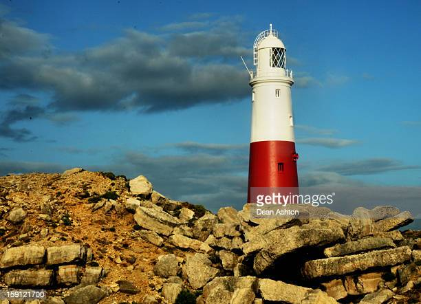 Lighthouse on Portland Bill Island, off the coast of Weymouth, UK.