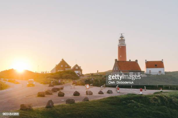Lighthouse on Texel island at sunset