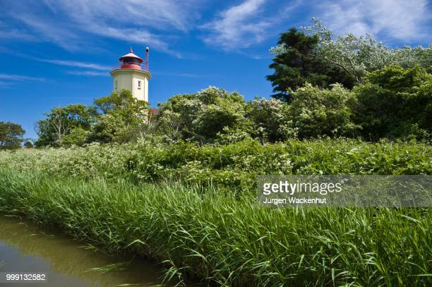 Lighthouse on the dyke, Westermarkelsdorf, Island of Fehmarn, Baltic Sea, Schleswig-Holstein, Germany