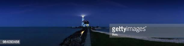 Lighthouse Paard van Marken panorama at blue hour (Marken, Netherlands)