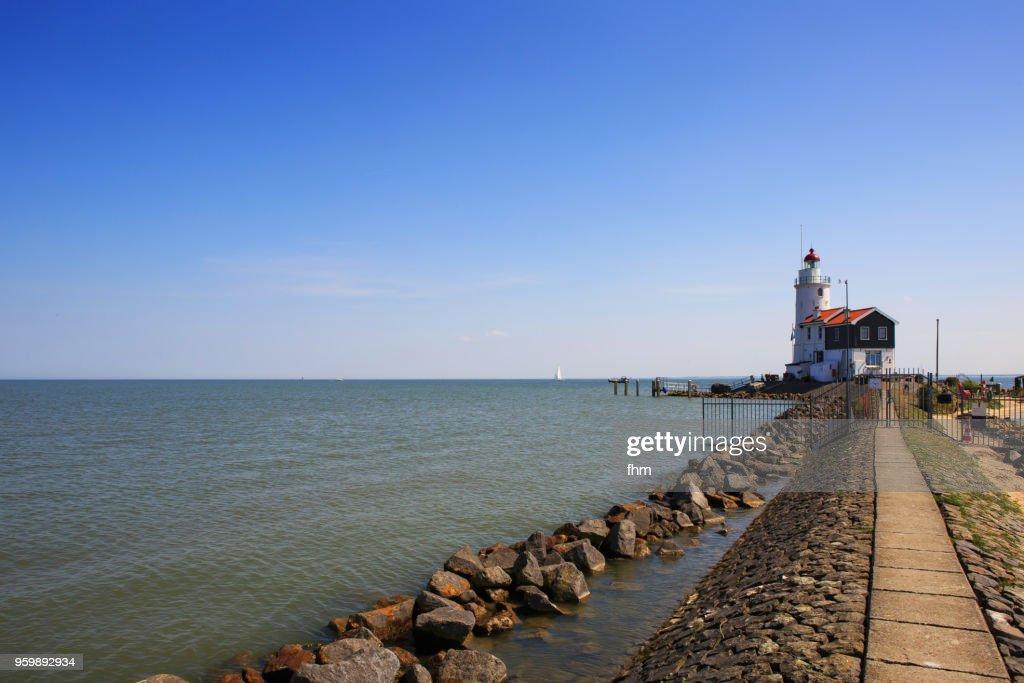 Lighthouse Paard van Marken (Marken, Netherlands) : Stock-Foto