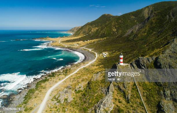 lighthouse (cape palliser) - north island new zealand stock pictures, royalty-free photos & images