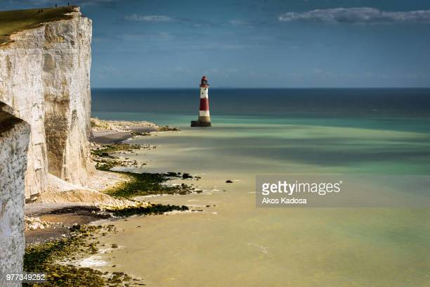 lighthouse - beachy head stock photos and pictures