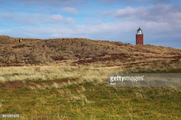 Lighthouse 'Quermarkenfeuer' in the dunes of Sylt Island (Schleswig-Holstein, Germany)