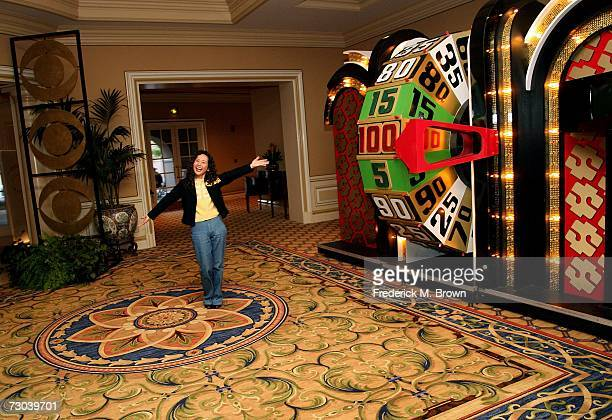Lighthouse reporter Meg Mimura spins The Price Is Right wheel in honor of the Bob Barker Farewell Press Conference during the 2007 Winter Television...