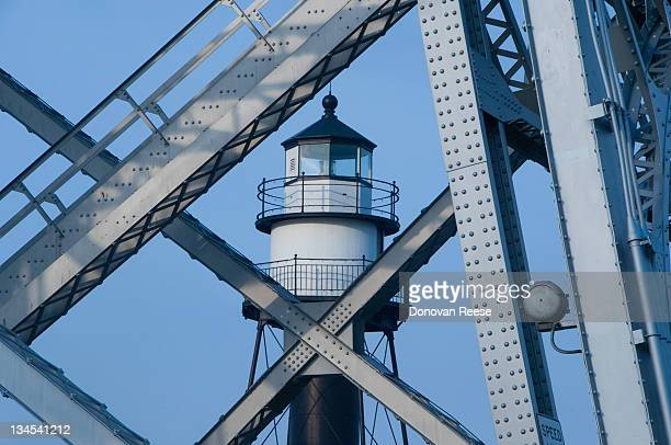 Lighthouse Shot Through Bridge Girders