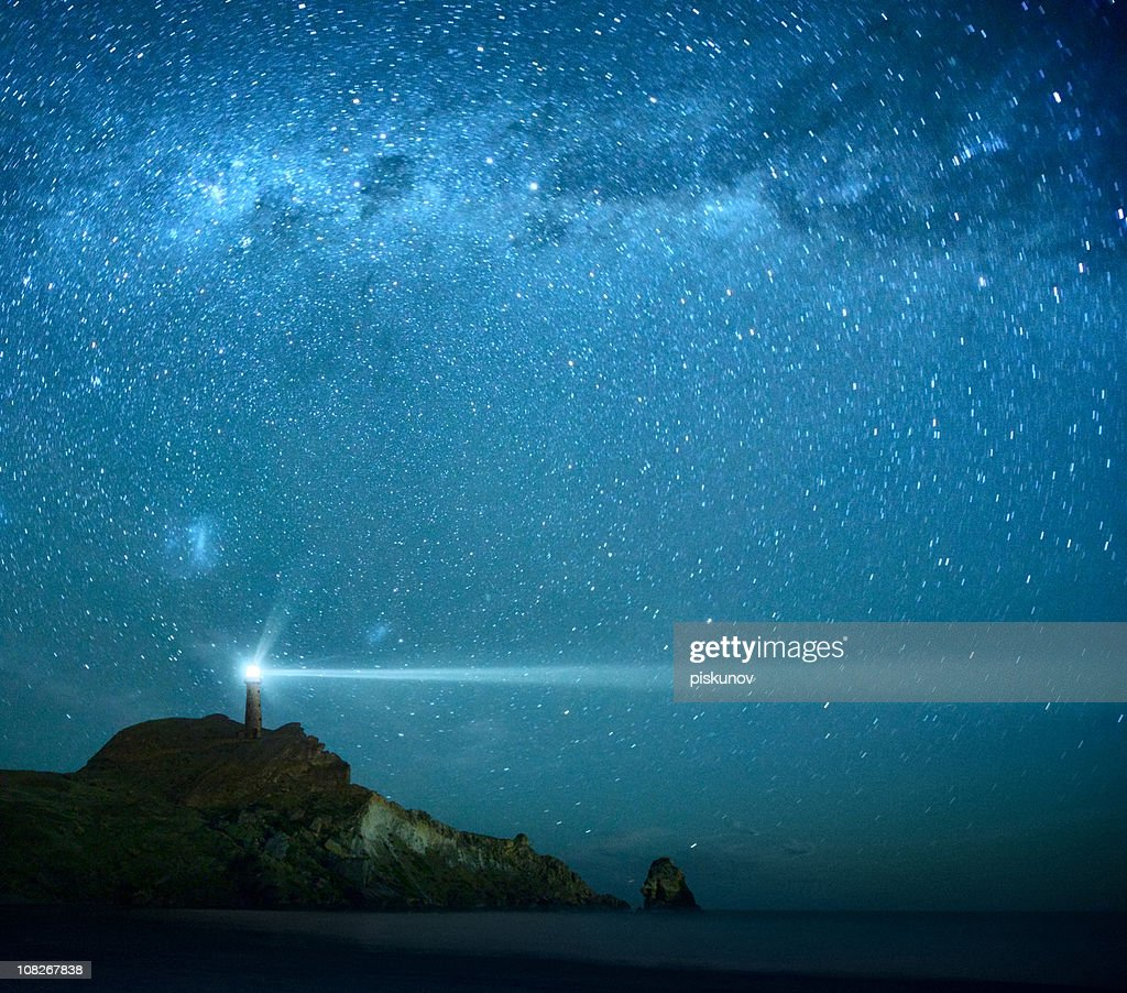 Lighthouse Under Milky Way stars : Stock Photo