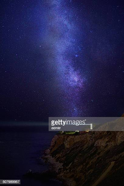 lighthouse under milky way stars - rancho palos verdes stock pictures, royalty-free photos & images