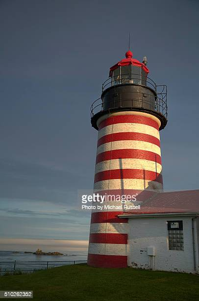 lighthouse west quoddy - lubec stock photos and pictures