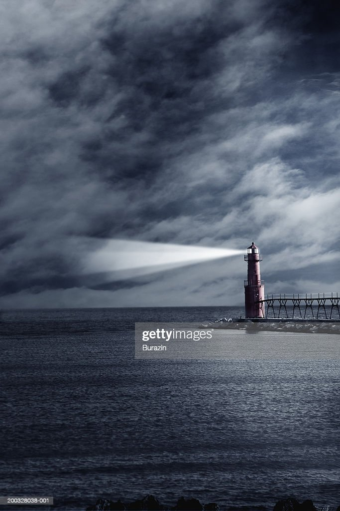 Lighthouse With Beacon Shining Night Stock Photo - Getty Images