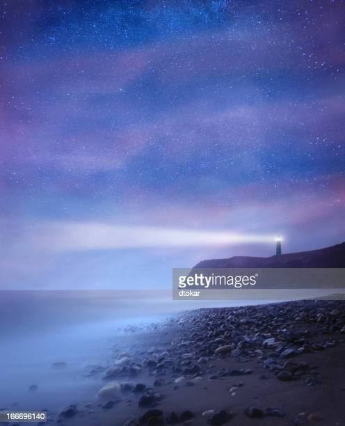 Lighthouse with stars at night