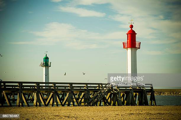 lighthouses at trouville-sur-mer, normandy, france - trouville sur mer stock pictures, royalty-free photos & images