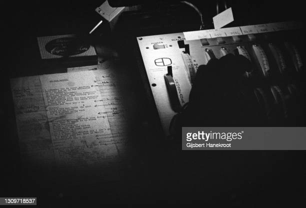 Lighting cues and lyric sheet in the lighting booth at a Steely Dan show at Santa Monica Civic Auditorium, California, United States, July 1974.