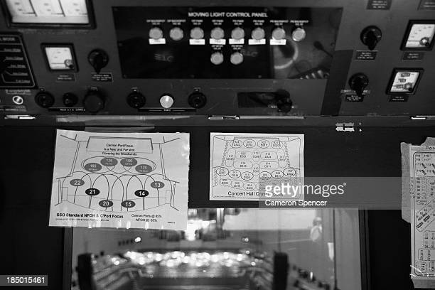 Lighting diagrams are displayed inside the Concert Hall control room in the Sydney Opera House on September 20 2013 in Sydney Australia On October 20...
