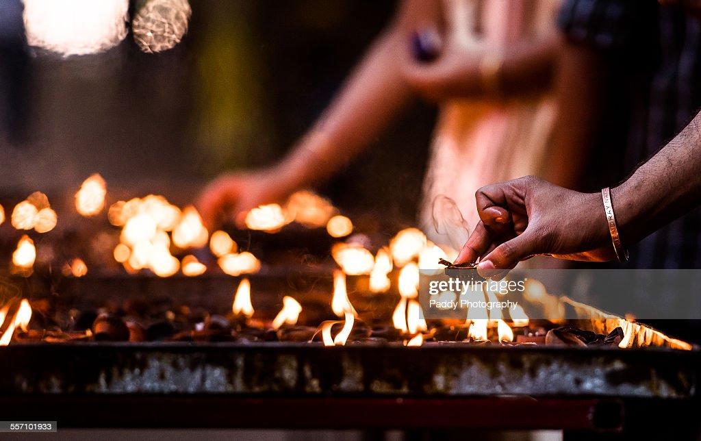 Lighting lamps, Vaitheeswaran Koil : Stock Photo
