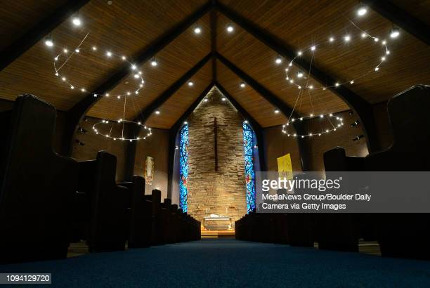 LED lighting made by Longmont's company TerraLUX is seen in the down lights and rings of lights in the sanctuary Tuesday Nov 19 at United Church of...