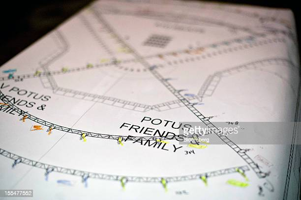 A lighting map identifies a seating area where friends and family of US President Barack Obama will sit in Hall E of McCormick Place convention...