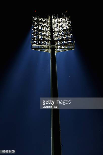 A lighting mast is seen prior to the FIFA Confederations Cup match between New Zealand and Spain at Royal Bafokeng Stadium on June 14 2009 in...