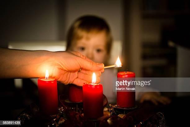 Lighting of advent wreath