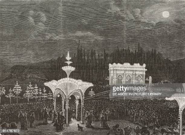 Lighting of Piazzale Michelangelo during the Michelangelo celebrations in Florence Italy illustration from the magazine L'Illustrazione Universale...