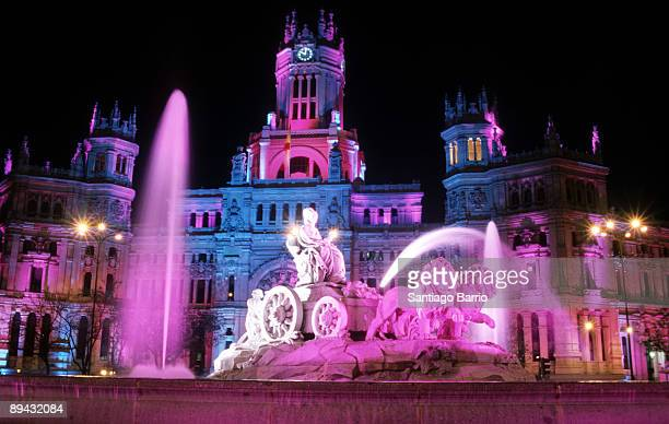 Lighting of the Madrid's streets and monuments on the occasion of the Prince Felipe and Letizia Orti's wedding Cibeles Fountain and the...