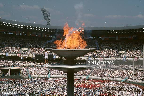 Lighting of the Olympic flame during the opening ceremony of the 1988 summer Olympic Games
