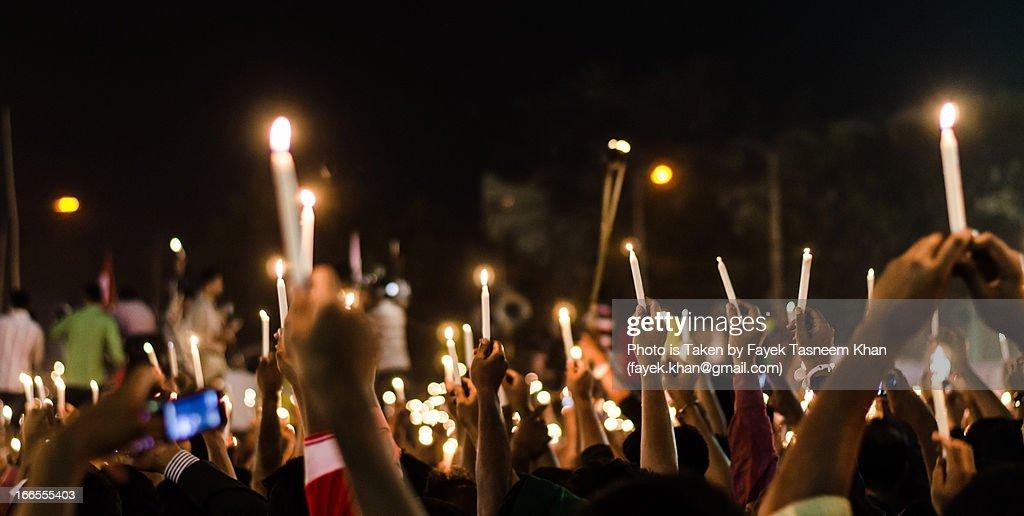 "Lighting the world protesting darkness ""Shabag"" : Stock Photo"