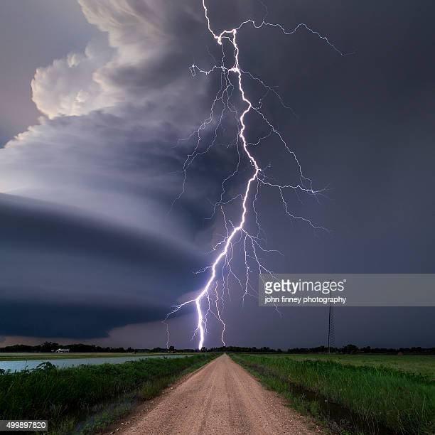 Lightning bolt from a super-cell thunderstorm, Nebraska, USA