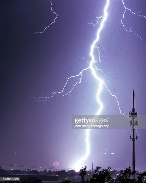 Lightning bolt hits Amarillo. Lightning across the sky's of Texas, USA.