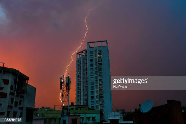 Lightning bolt is seen during a thunderstorm in Kolkata, India on 5 June 2021. Kolkata is hit with heavy thunderstorm and rain , bringing much relief...