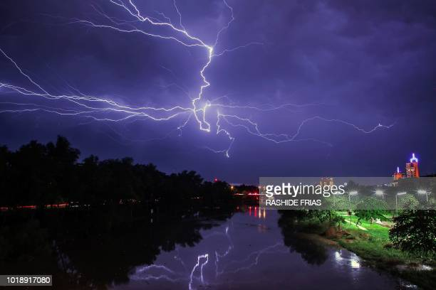 TOPSHOT A lightning bolt strikes in Culiacan Sinaloa State Mexico early on August 18 2018