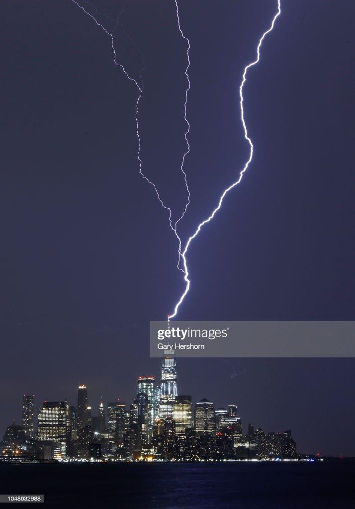 Lightning Strikes One World Trade Center In New York City News Photo