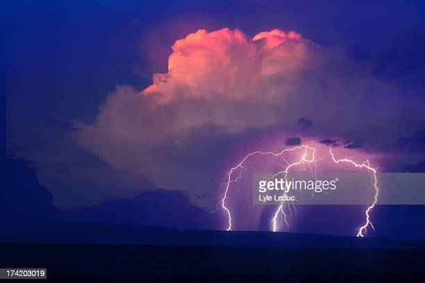 lightning bolts - shiprock stock photos and pictures