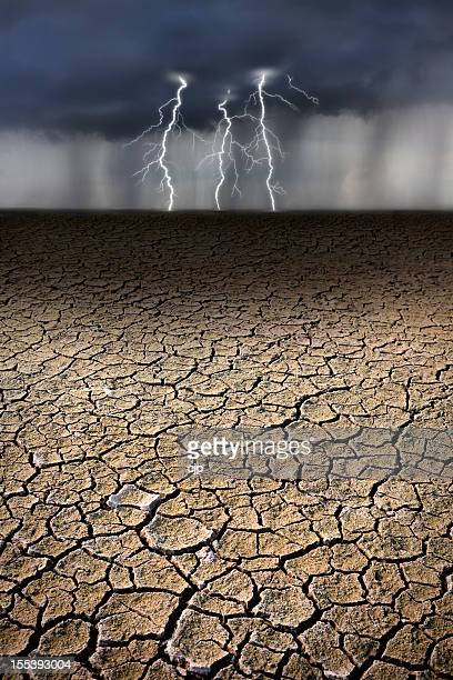 Lightning Bolts Striking Parched Earth in Storm
