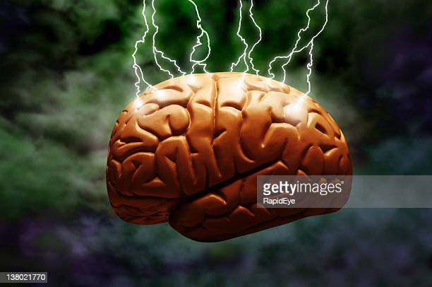 lightning brain - frankenstein stock photos and pictures
