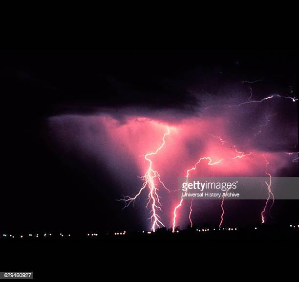 lightning during a nighttime thunderstorm in Norman Oklahoma