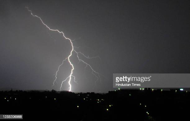 Lightning during a thunderstorm and rain on May 31, 2021 in Chandigarh, India.