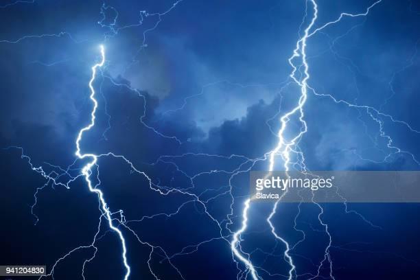 Lightning during storm at night