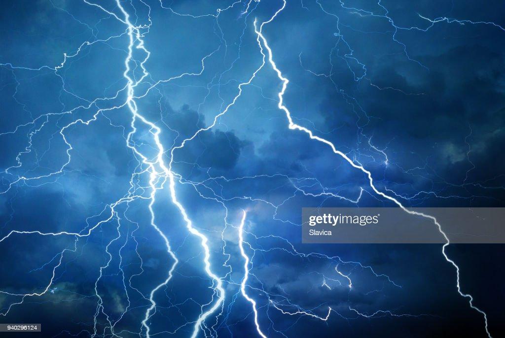 Lightning during summer storm : Stock Photo
