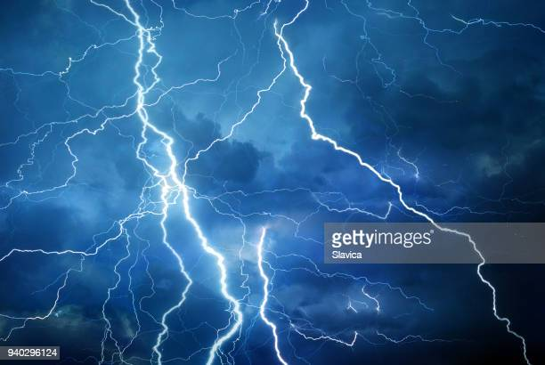lightning during summer storm - storm stock pictures, royalty-free photos & images