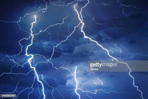 lightning during summer storm - hitting stock pictures, royalty-free photos & images