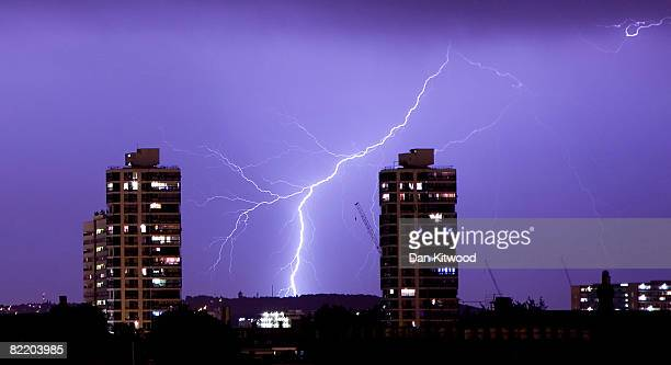 Lightning flashes in the night sky over South London August 07 2008 in London England The storm brought a temporary end to the hot and humid weather...
