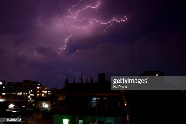 Lightning flashes in the sky over the Dhaka City during a storm in Bangladesh, on April 19, 2020