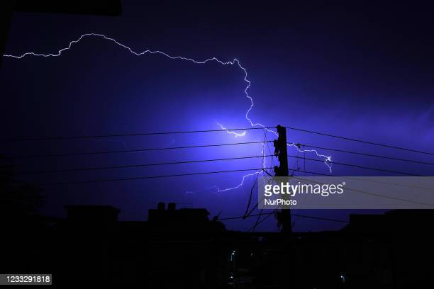 Lightning flashing through the sky over the Ajmer city during the Pre Monsoon showers in Ajmer, Rajasthan, India on 05 June 2021.