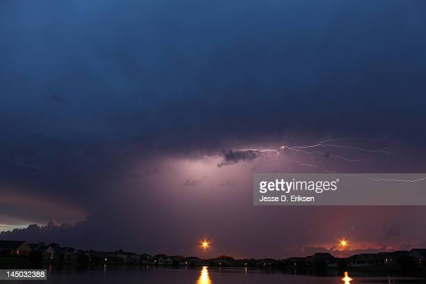 lightning in clouds - palmetto florida stock pictures, royalty-free photos & images