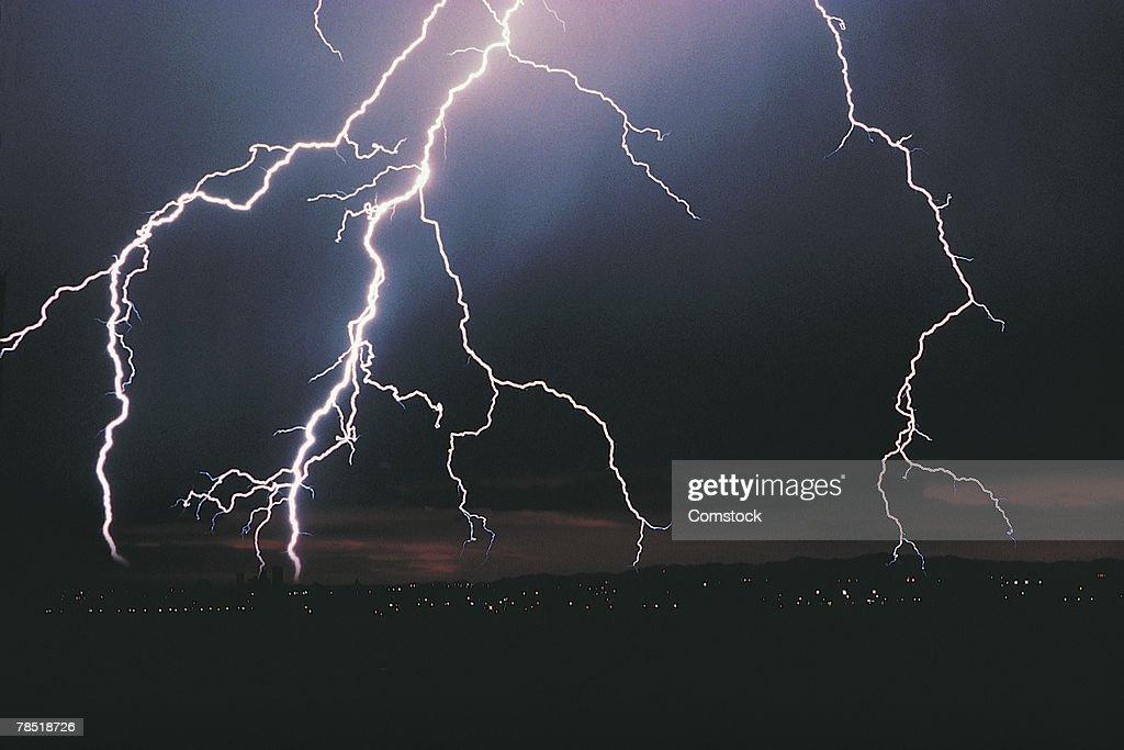 Lightning in night sky : Stock Photo