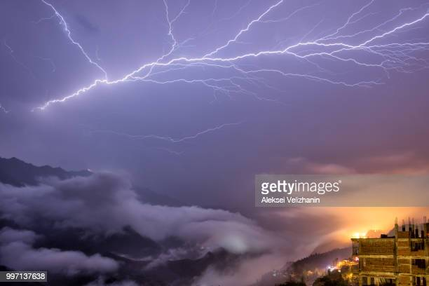 lightning in sa pa mountains - sa pa stock photos and pictures