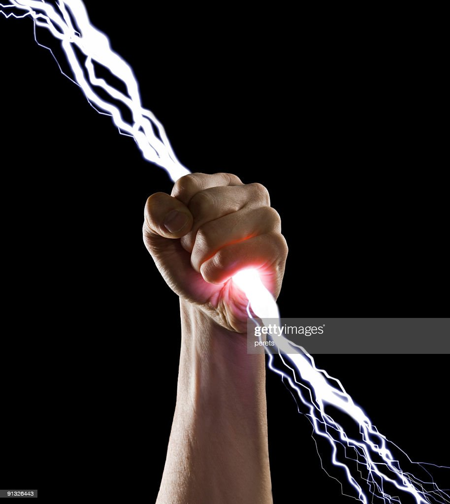 lightning in the fist : Stock Photo
