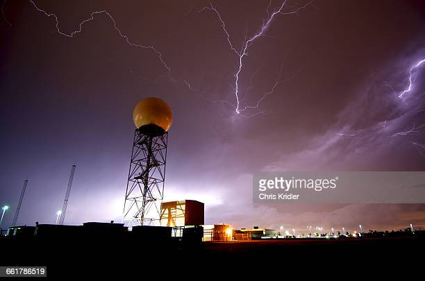 Lightning near a weather radar dome at the National Weather Service in Norman, Oklahoma, USA